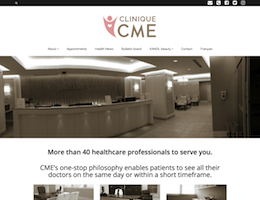 Screenshot of the Clinique CME website homepage taken on February 13, 2019