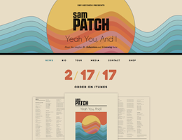 Screenshot of the Sam Patch Music website homepage taken on February 13, 2019