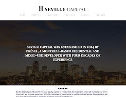 Screenshot of the Seville Capital website homepage taken on February 13, 2019