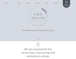 Screenshot of the V and O Salon Website homepage taken on February 13, 2019